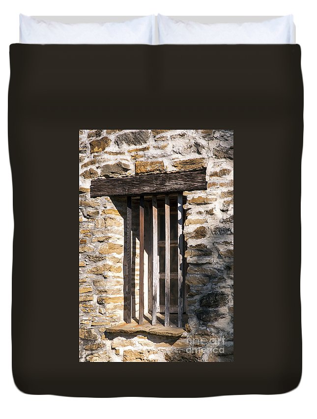 San Antonio Texas Mission Espada Missions Bell Bells Structure Structures Building Buildings Architecture Duvet Cover featuring the photograph Mission Window by Bob Phillips
