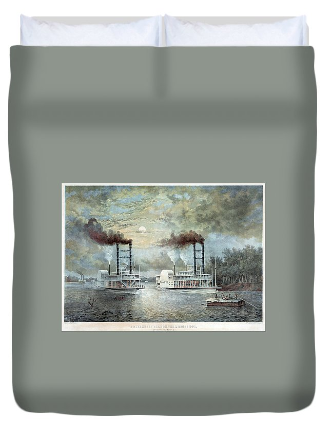 1859 Duvet Cover featuring the painting Mississippi River Race, C1859 by Granger