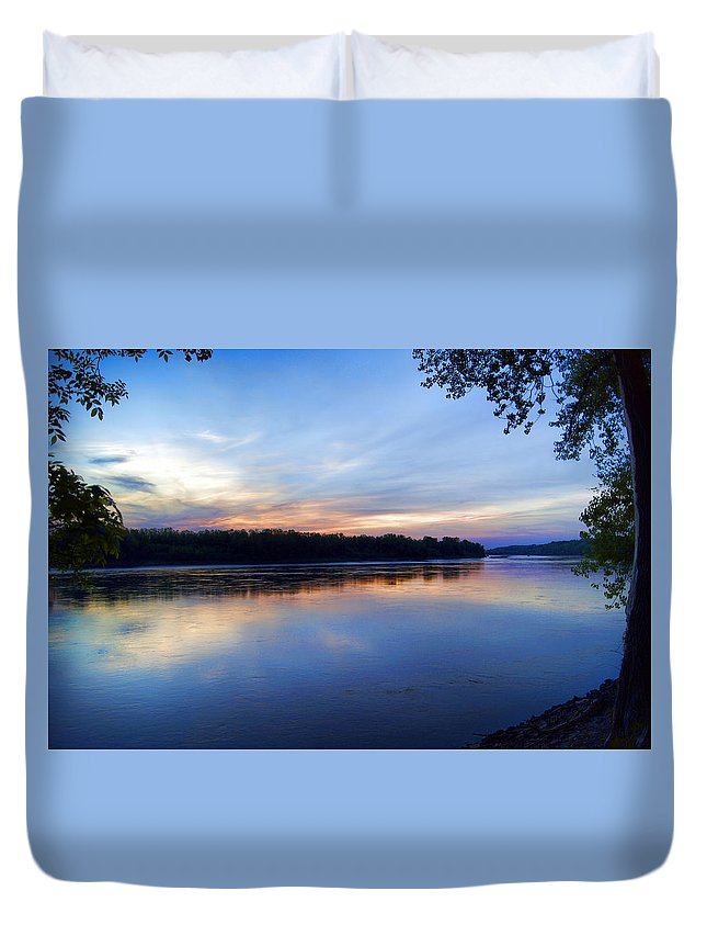 River Duvet Cover featuring the photograph Missouri River Blues by Cricket Hackmann