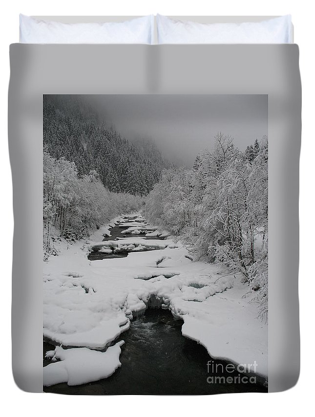 Creek Duvet Cover featuring the photograph Mist Above The Creek by Christiane Schulze Art And Photography