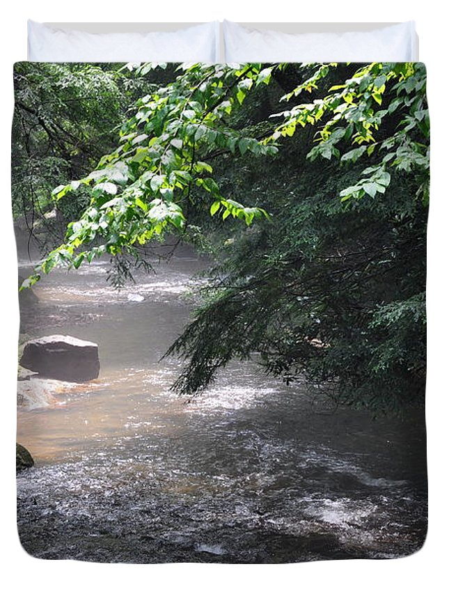 Mist Duvet Cover featuring the photograph Mist Over The Water by Rebecca Jayne