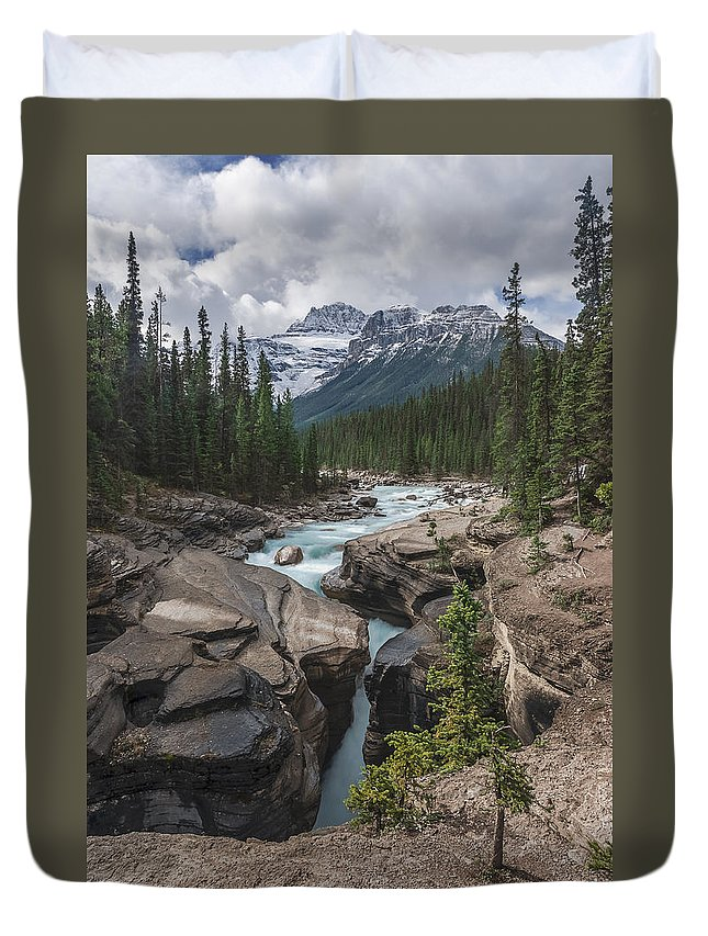 Mistaya Duvet Cover featuring the photograph Mistaya River And Canyon by Cenwyn Jones