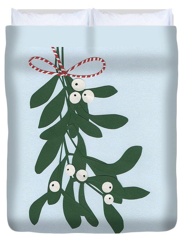 Mistletoe Duvet Cover featuring the painting Mistletoe by Isobel Barber