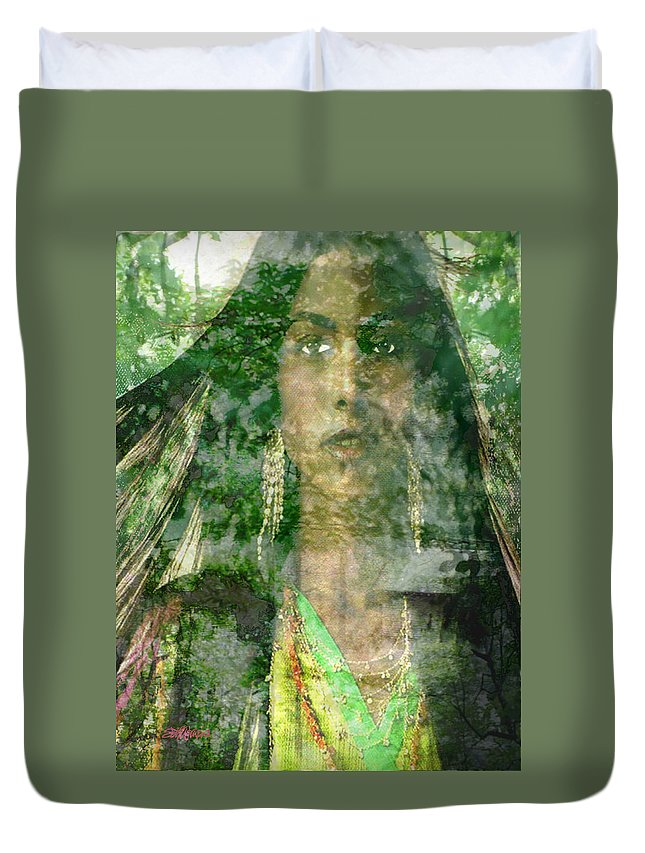 American Indian Duvet Cover featuring the digital art Mistress Of The Wind by Seth Weaver