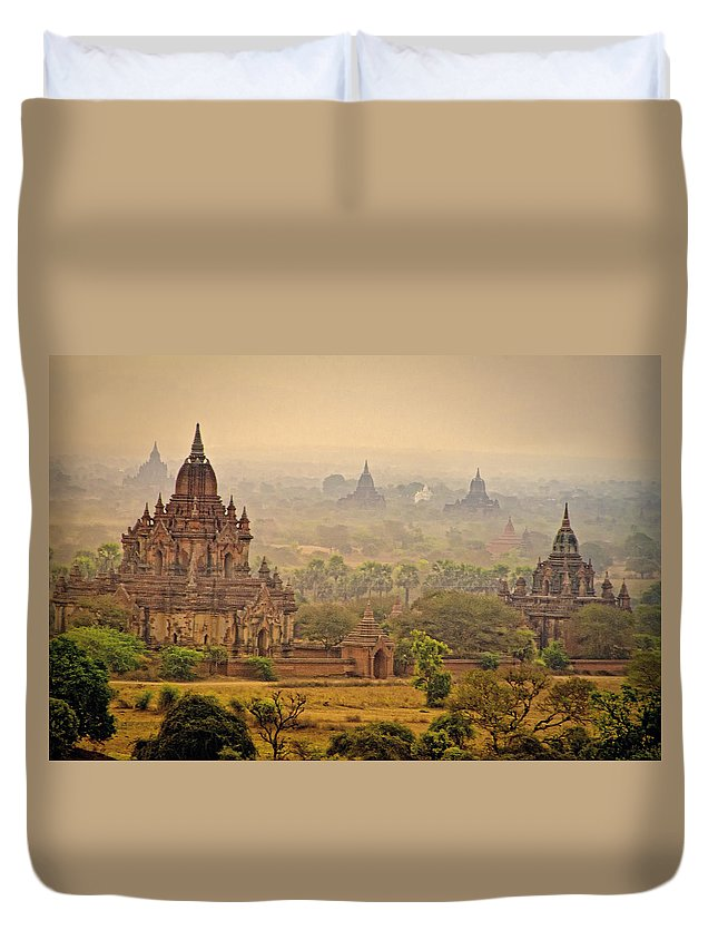 Myanmar Duvet Cover featuring the photograph Misty Dawn 2 by Claude LeTien