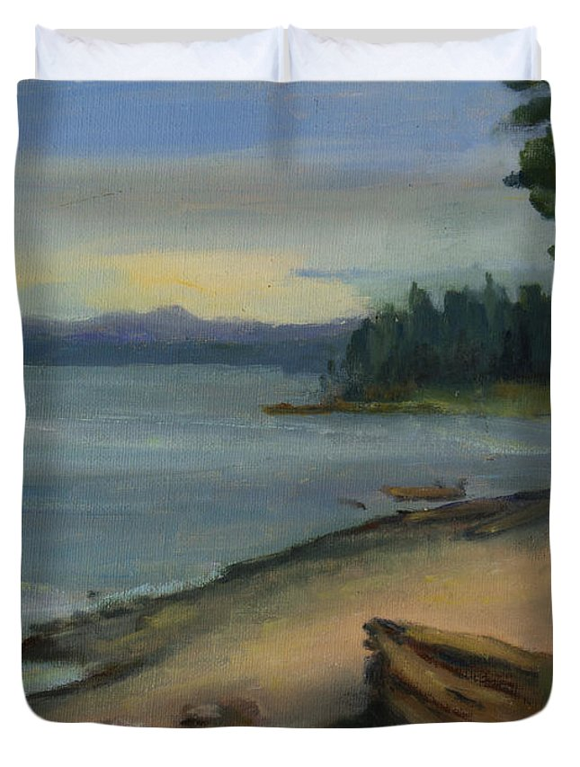 Maria Hunt Duvet Cover featuring the painting Misty October Puget Sound by Maria Hunt