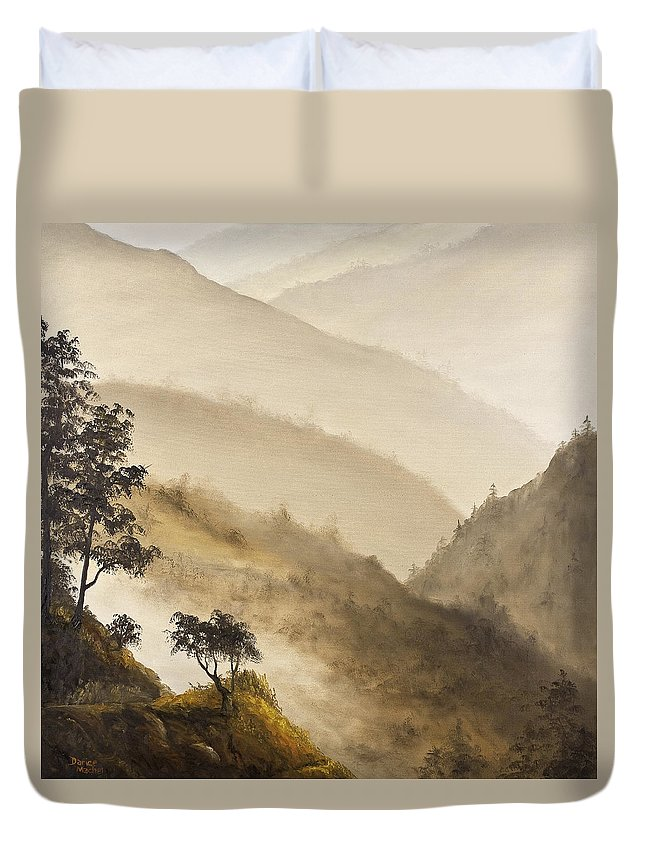 Landscape Duvet Cover featuring the painting Misty Hills by Darice Machel McGuire