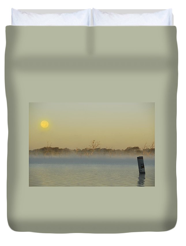 Mist Duvet Cover featuring the photograph Misty Lake by Charles Beeler