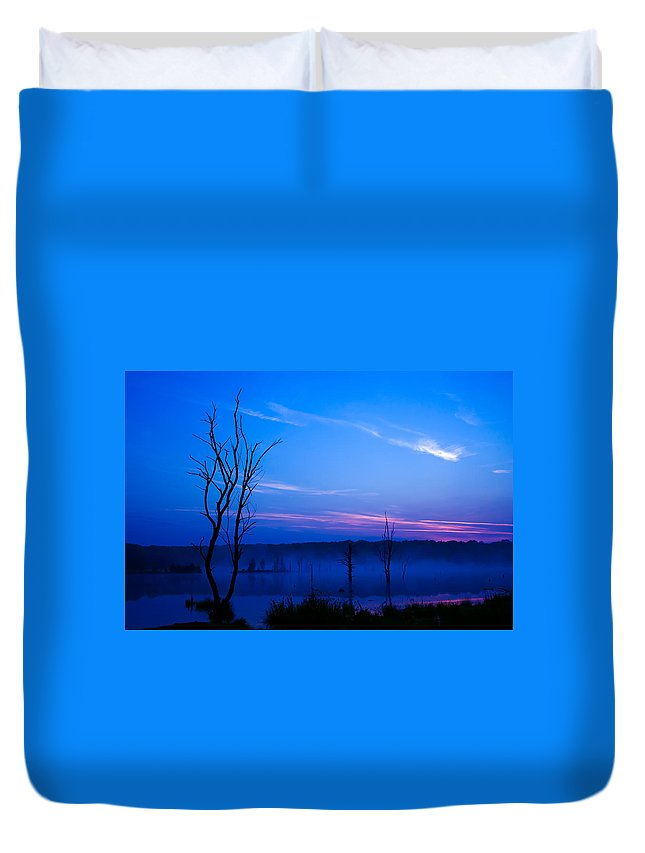 Winter Duvet Cover featuring the photograph Misty Lake by Delmas Lehman