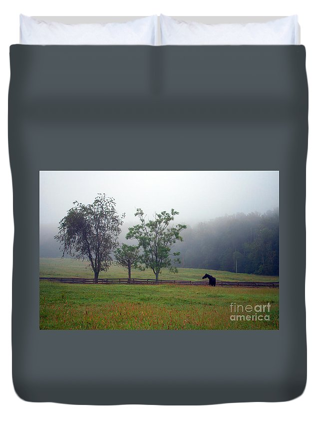 Misty Duvet Cover featuring the photograph Misty Morning At The Farm by Photos By Cassandra