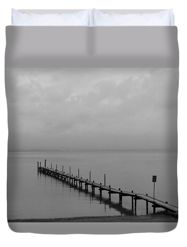 Chiemsee Duvet Cover featuring the photograph Misty Morning At The Lake by Christiane Schulze Art And Photography