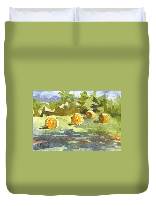 Misty Morning Gold Duvet Cover featuring the painting Misty Morning Gold by Kip DeVore