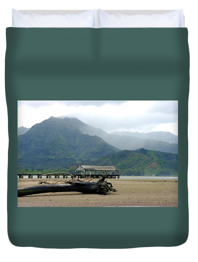 Misty Duvet Cover featuring the photograph Misty Morning Hanalei by John Greaves