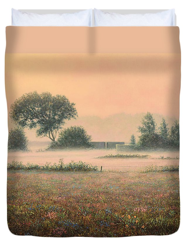 Misty Duvet Cover featuring the painting Misty Morning by James W Johnson