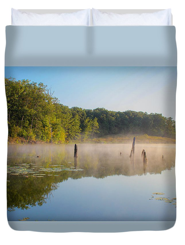 Mist Duvet Cover featuring the photograph Misty Morning Lake by Harold Hopkins