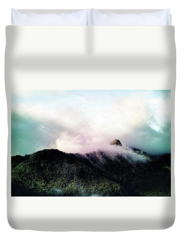 Misty Duvet Cover featuring the painting Misty Mountains by Florian Rodarte