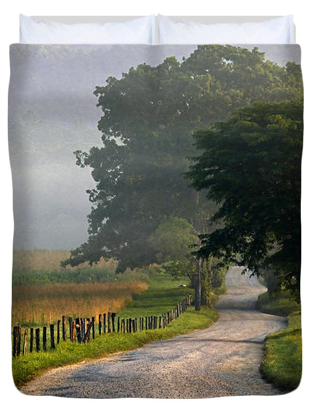 Smokies Duvet Cover featuring the photograph Misty Smoky Mountain Morning by Eric Albright