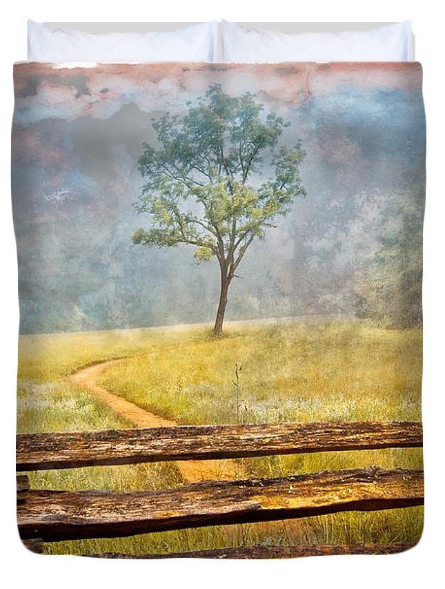 Appalachia Duvet Cover featuring the photograph Misty Tree by Debra and Dave Vanderlaan