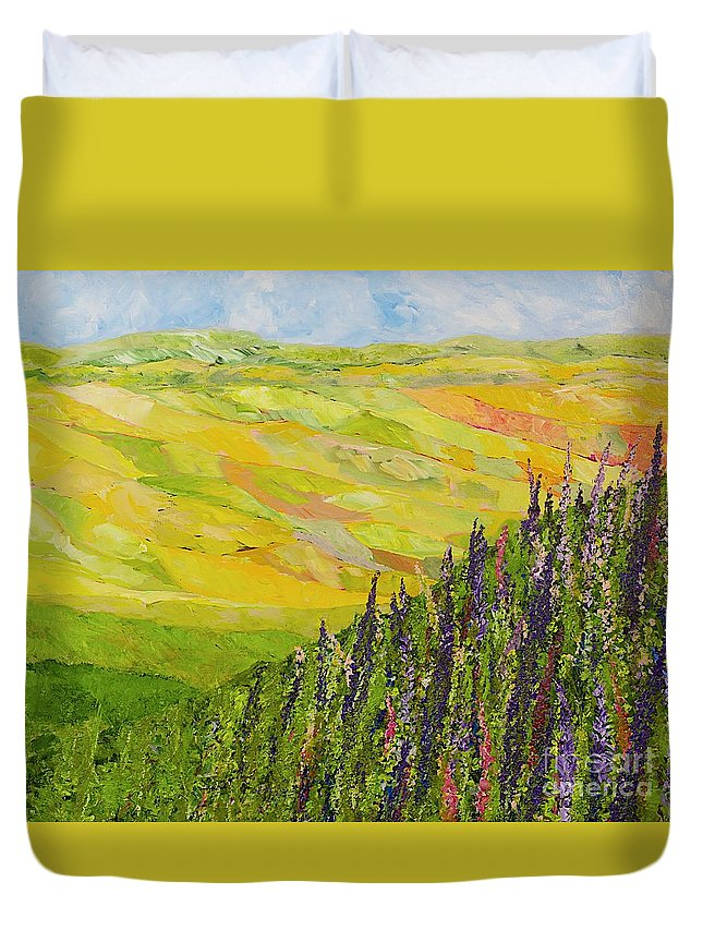 Landscape Duvet Cover featuring the painting Misty Valley by Allan P Friedlander