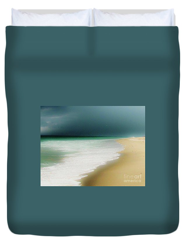 Beach Duvet Cover featuring the photograph Misty Water Blue by Keri West