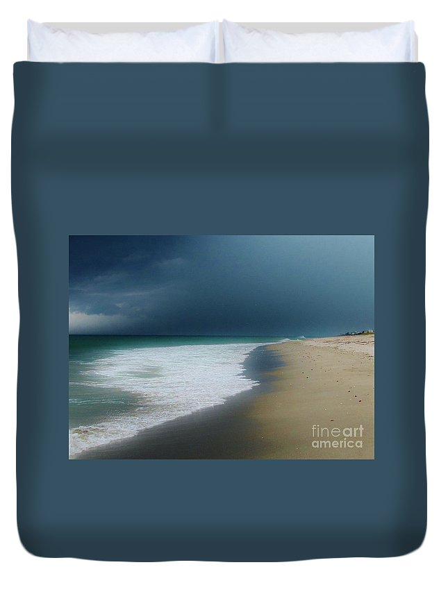 Misty Water Duvet Cover featuring the photograph Misty Water Color Blue Too by Keri West