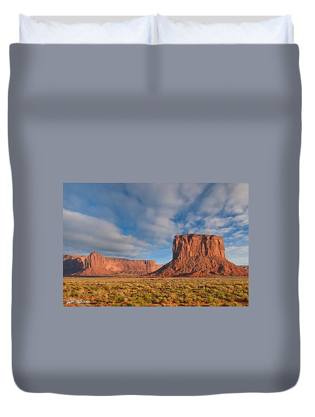 Arizona Duvet Cover featuring the photograph Mitchell Butte And Gray Whiskers In The Evening Light by Jeff Goulden