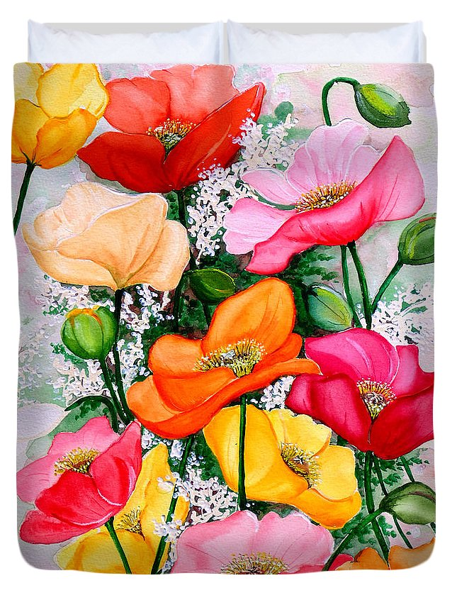 Poppies Duvet Cover featuring the painting Mixed Poppies by Karin Dawn Kelshall- Best