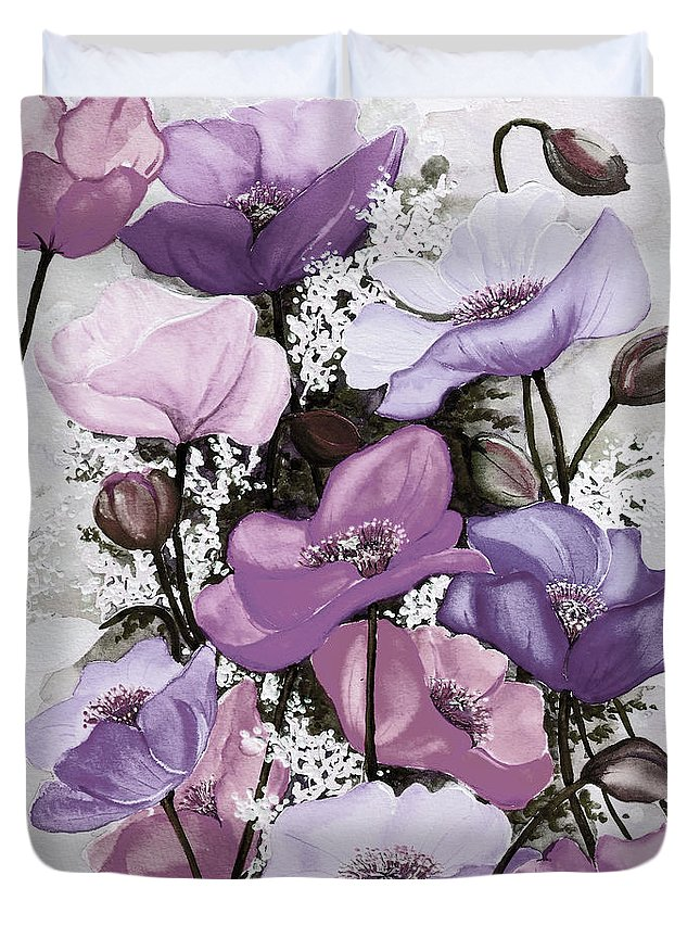 Purple Duvet Cover featuring the painting Mixed Poppies Purple by Karin Dawn Kelshall- Best