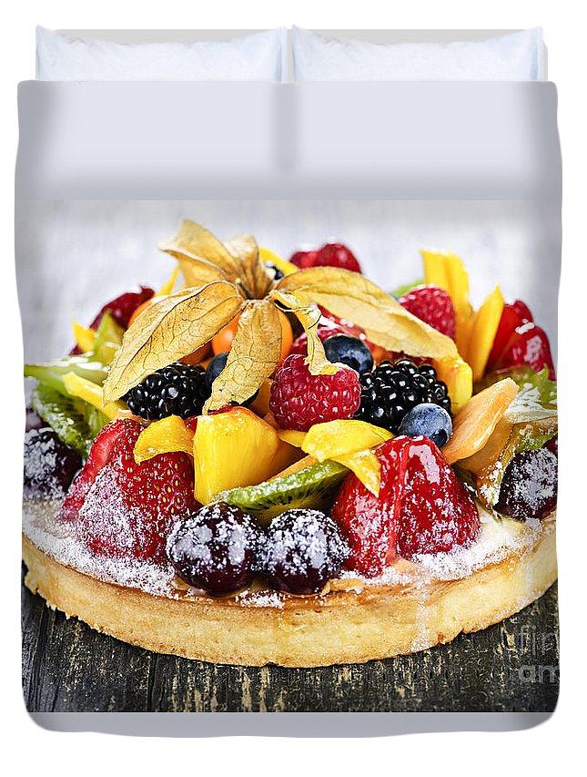 Tart Duvet Cover featuring the photograph Mixed Tropical Fruit Tart by Elena Elisseeva