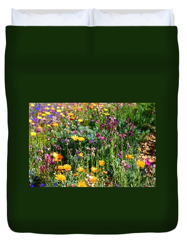 Wildflower Duvet Cover featuring the photograph Mixed Wildflowers by Kathryn Meyer