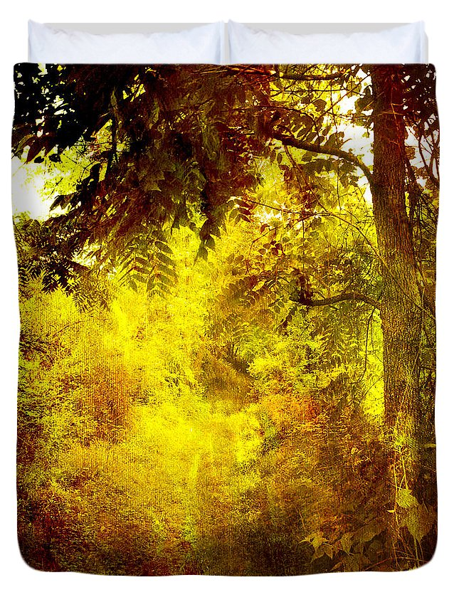 Nature Duvet Cover featuring the painting Yellow Forest by Joel Zimmerman