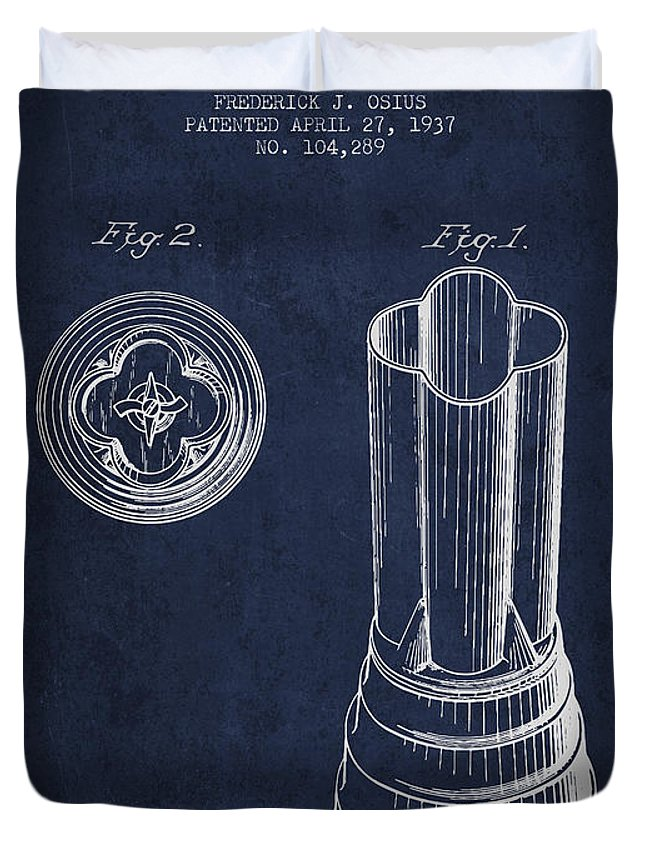 Blender Duvet Cover featuring the digital art Mixer Patent From 1937 - Navy Blue by Aged Pixel