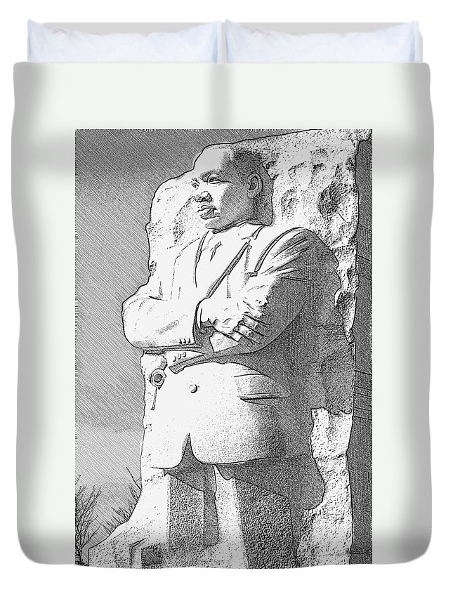 District Of Columbia Duvet Cover featuring the digital art Mlk 5211 Fine Etching by David Lange