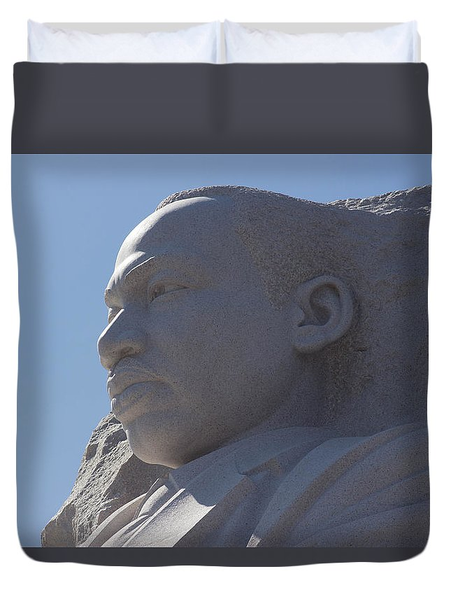Mlk Duvet Cover featuring the photograph From The Shadow Of Apartheid To The Light Of Equality by Howard Tenke