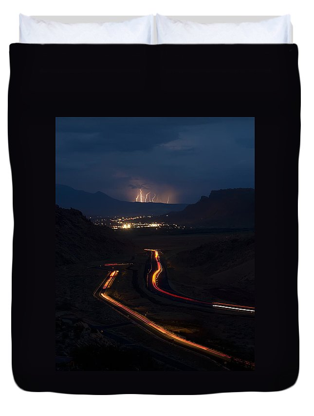 3scape Photos Duvet Cover featuring the photograph Moab Storm by Adam Romanowicz