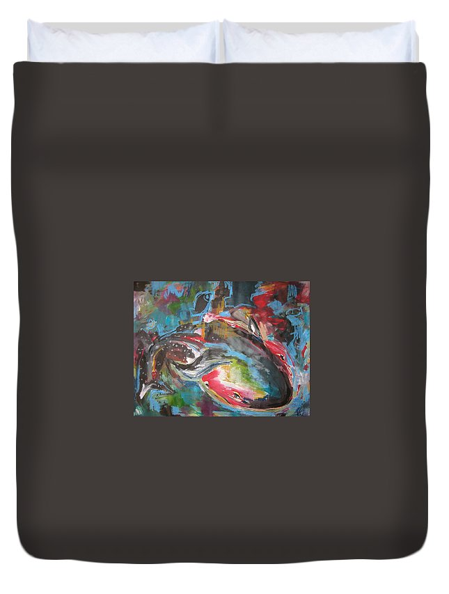Whale Paintings Duvet Cover featuring the painting Mobie Joe The Whale-original Abstract Whale Painting Acrylic Blue Red Green by Seon-Jeong Kim