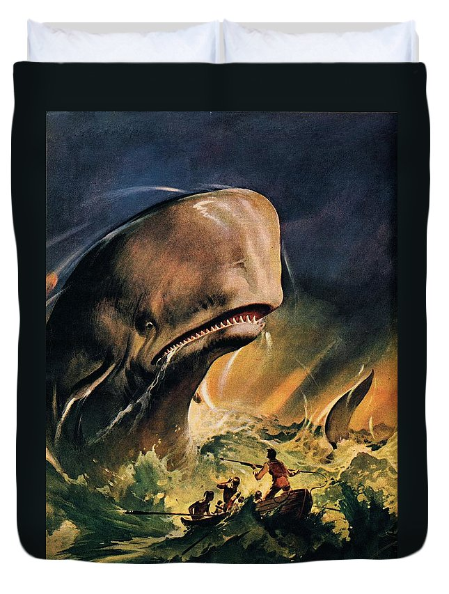 Moby Dick Duvet Cover featuring the painting Moby Dick by James Edwin McConnell