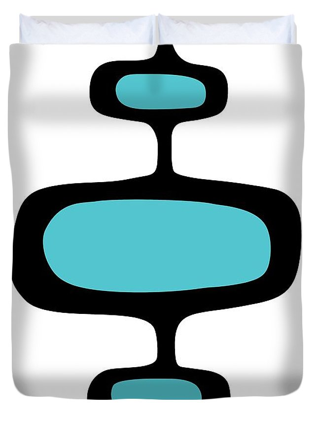 Mid Century Modern Duvet Cover featuring the digital art Mod Pod One Black On White by Donna Mibus