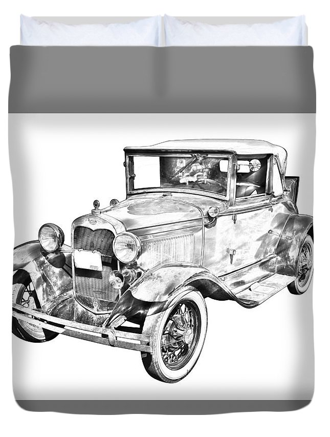 Model A Ford Duvet Cover featuring the photograph Model A Ford Roadster Antique Car Illustration by Keith Webber Jr
