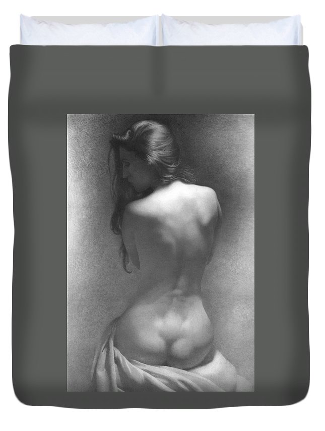 Duvet Cover featuring the drawing Model Against The Dark Background 2002 by Denis Chernov
