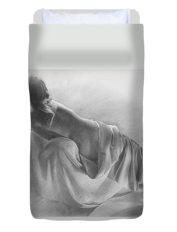 Duvet Cover featuring the drawing Model In Drapery 2003 by Denis Chernov