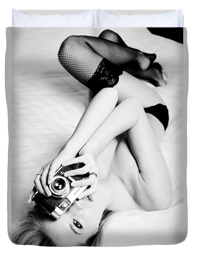 Skincare Duvet Cover featuring the photograph Model Photographer by Jt PhotoDesign