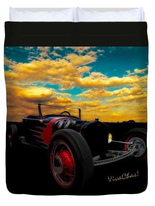 Ford Duvet Cover featuring the photograph Model T Rat Rod Ride Cruisin Out At Sunset by Chas Sinklier