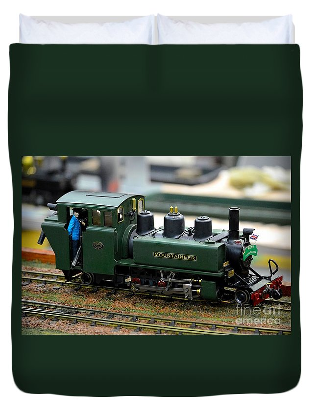 Model Train Green Steam Railway Engine With Driver In Cab Duvet Cover