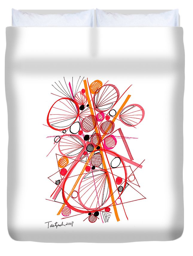 Modern Art Duvet Cover featuring the drawing Modern Drawing Fifty-four by Lynne Taetzsch
