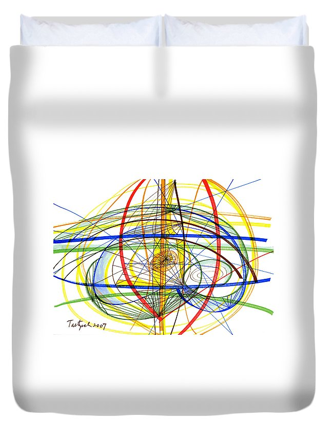 Modern Drawing Duvet Cover featuring the drawing Modern Drawing Fourteen by Lynne Taetzsch