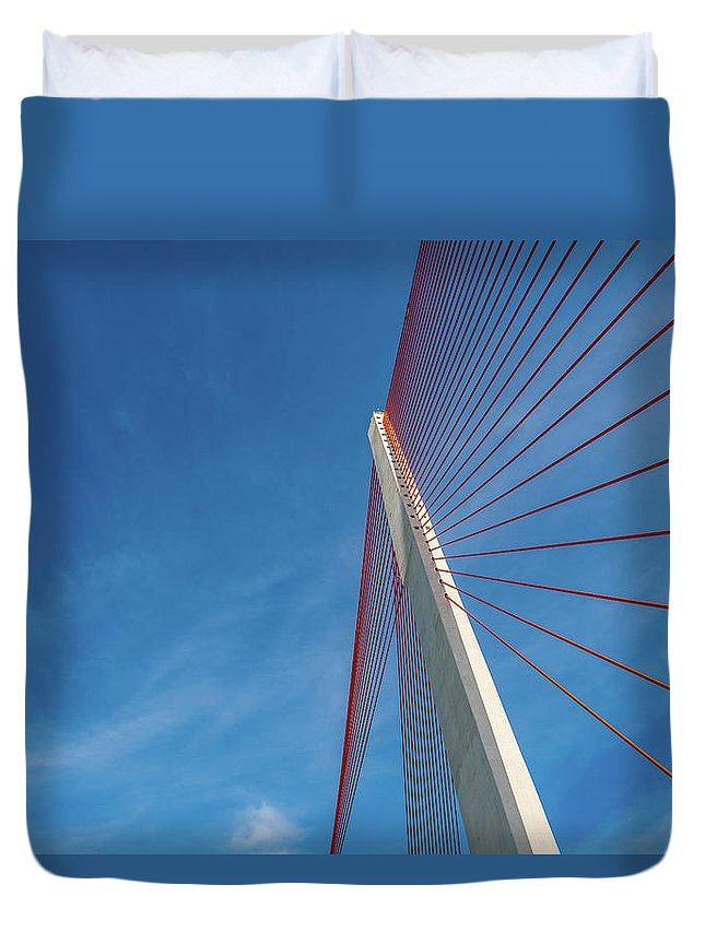 Hanging Duvet Cover featuring the photograph Modern Suspension Bridge by Phung Huynh Vu Qui