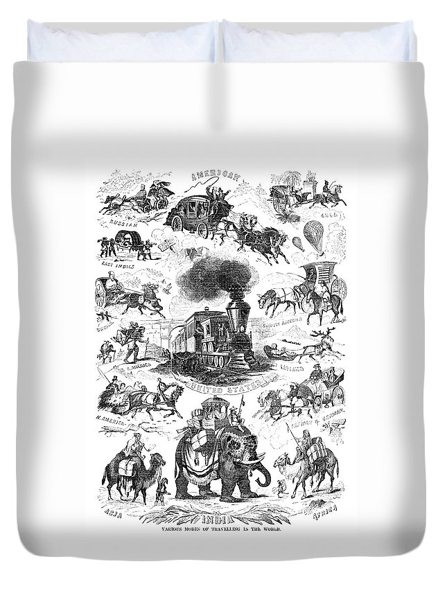 19th Century Duvet Cover featuring the painting Modes Of Travelling by Granger