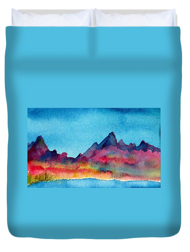 Watercolor Duvet Cover featuring the painting Mohave Mountains by Anne Duke