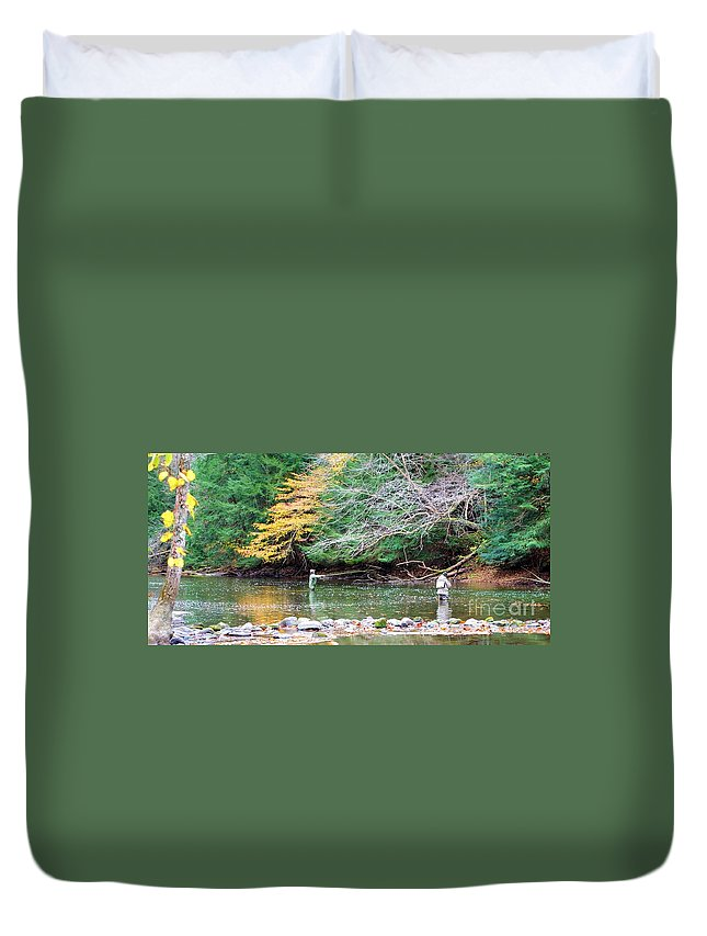 Mohican Duvet Cover featuring the photograph Mohican Fly Fishermen by Patti Smith